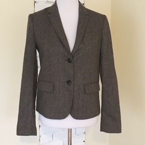 Gap Academy Blazer 6 Brown Herringbone Wool Blend